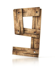 Wooden Number Nine (9). 3d Illustration Isolated