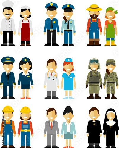 Fotografia  People occupation characters man and woman set in flat style isolated on white b
