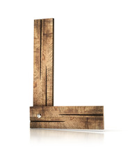 Single Wooden L Letter Isolated On The White Background. 3d Illustration. Wooden Font.