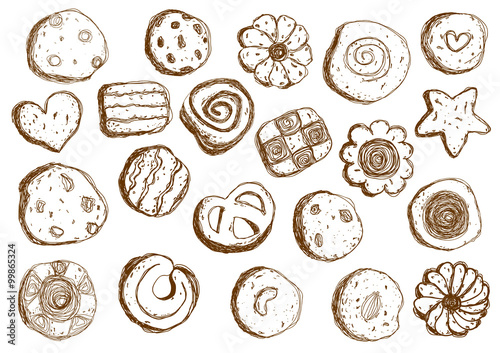 Photo  Set hand drawn cookies on white background