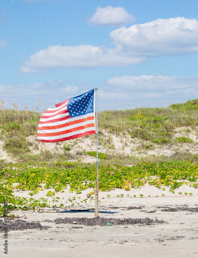 Photo & Art Print American Flag / A solitary American flag planted ...