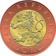 Vector Gold Money Twenty Czech Crones Coin