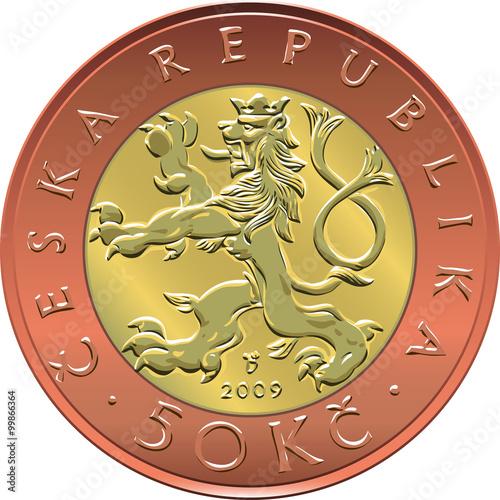 Photo  vector gold Money twenty czech crones coin