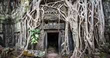 Traveling To Asia. Famous Landmark And Travel Destination Angkor Wat Temples And Ruins