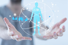 Human Check - Medicine Doctor And Stethoscope In Hand Touching Icon Medical Network Connection With Modern Virtual Screen Interface, Medical Technology Network Concept