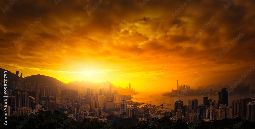 Fototapeta Dramatic sunset sky over Hong Kong panoramic view