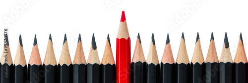 Row of black pencils with one red pencil in middle Canvas Print