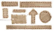 Burlap Fabric Tag Label, Hessian Cloth Patch Ribbon, White