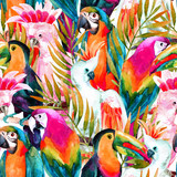 watercolor parrots seamless pattern - 99872538