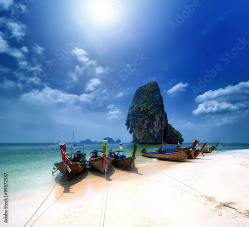 Foto auf Acrylglas Thailand beach on tropical island. Beautiful travel background of Asia coast