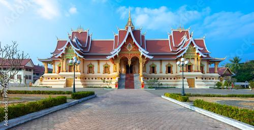 Foto  Facade of Wat That Luang Neua near golden stupa in Vientiane, Laos