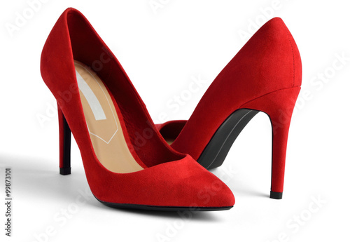 Fotografia  Red suede high-heeled on white