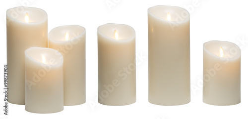 Fotografie, Obraz  Candle Light, White Wax Candles Lights Isolated