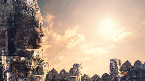 Sunset over Angkor Wat in Cambodia. Travel background Canvas Print