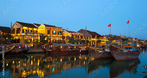 Yellow buildings of Hoi An , Vietnam after sunset