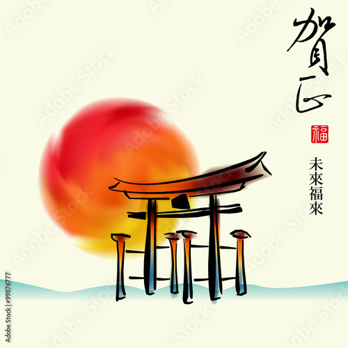 New Year theme creative greeting cards, posters, Japan door