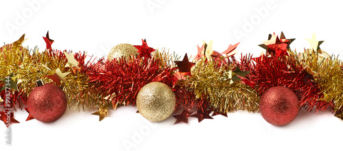Obraz Line of a tinsel garland isolated - fototapety do salonu