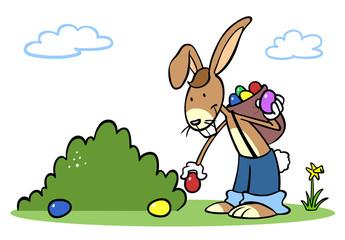 Naklejka Cartoon Osterhase beim Ostereier verstecken