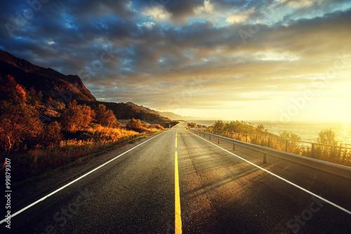 Poster Scandinavie road by the sea in sunrise time, Lofoten island, Norway