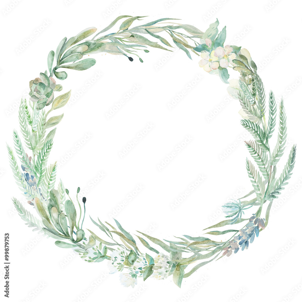 Fototapeta Wedding invitation wreath.