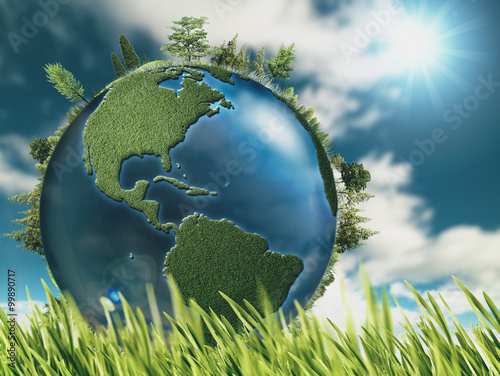 Fotografie, Obraz  Eco natural backgrounds with Earth globe and green grass