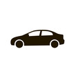 Car icon. Black silhouette of automobile isolated on white background