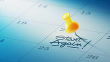Concept Image Of A Calendar With A Yellow Push Pin. Closeup Shot