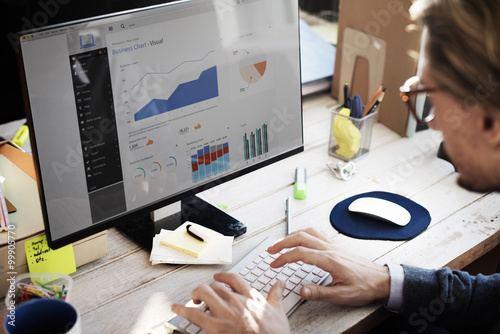 Businessman Working Dashboard Strategy Research Concept плакат