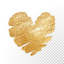 Vector Gold Paint Valentines Heart On Transparent Background