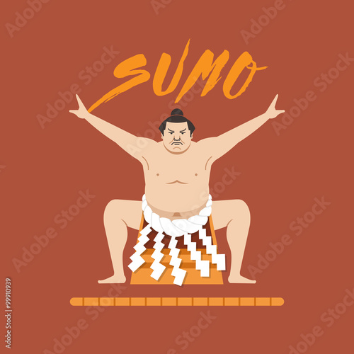 Láminas  Sumo Wrestler, Vector illustration