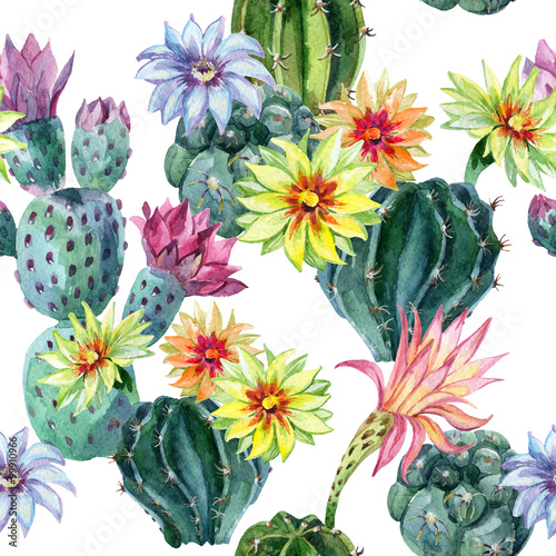 Cotton fabric Watercolor seamless cactus pattern