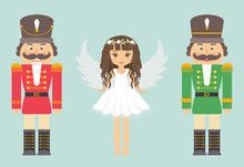 Nutcracker Red And Green And Girl Angel With Curly Hair