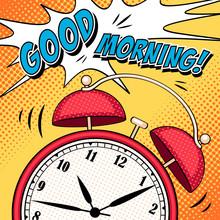 Comic Illustration With Alarm Clock In Pop Art Style