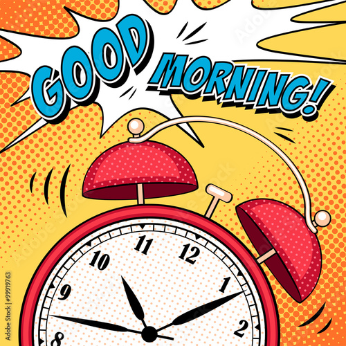 Poster Pop Art Comic illustration with alarm clock in pop art style