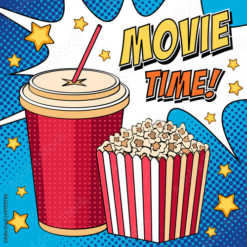 comic illustration with popcorn box and cola in pop art style kaufen sie diese vektorgrafik. Black Bedroom Furniture Sets. Home Design Ideas