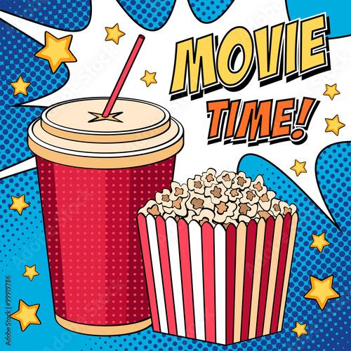 Fototapeta Komiks ilustracja z popcornem i kola w stylu pop-art