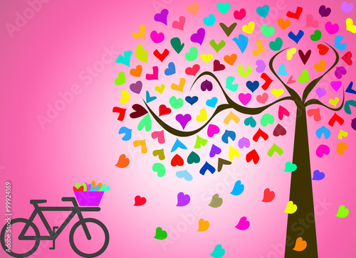 Love Valentine in romatic scenery with colorful tree and bicycle on pink background