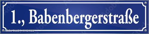 Straßenschild Babenbergerstraße Im Ersten Wiener Gemeindebezirk In