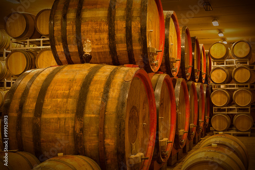Cellar with barrels for storage of wine, Italy Canvas Print