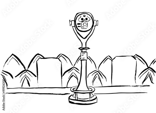 Fotografie, Obraz  Touristic binoculars sketch