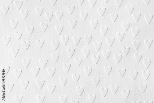 Fotografering  Background of white paper with embossed hearts