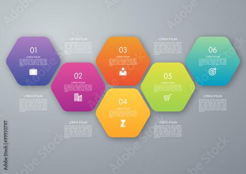 Photo  Vector circle hexagon infographic