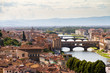 Beautiful view on the bridges over the river Arno in Florence, Italy