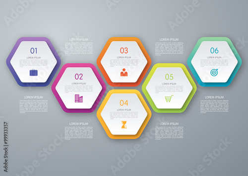 Vector circle hexagon infographic Wallpaper Mural