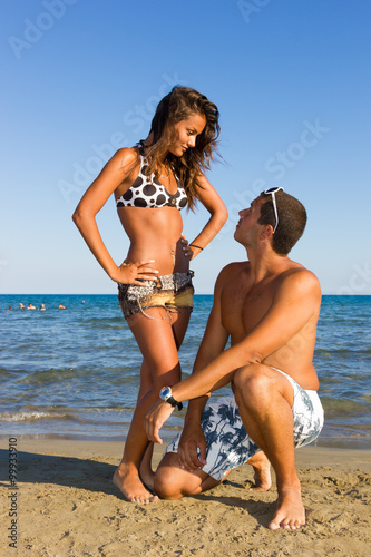 Fototapeta Attractive Couple on Tropical Beach obraz na płótnie