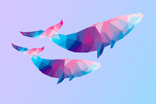 Geometric Whales. Vector Illustration