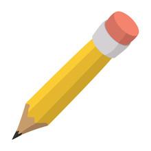 Pencil With Eraser Cartoon Icon