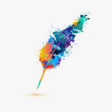 Pen Feather. Rainbow Splash Pa...