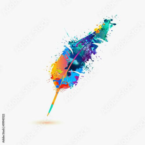Fotografie, Obraz pen feather. Rainbow splash paint
