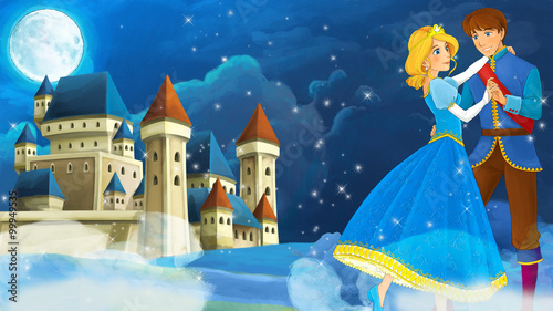 Cartoon romantic scene with royal pair - illustration for the children